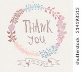thank you card. stylish floral... | Shutterstock .eps vector #214193512