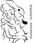 vector woman and dog | Shutterstock .eps vector #214205932