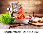 Old Grinder With Minced Meat O...