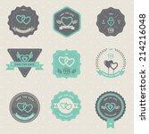 set of vintage badge wedding... | Shutterstock .eps vector #214216048