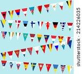 bunting with european flags | Shutterstock .eps vector #214226035