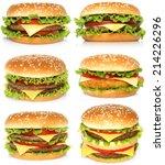 big hamburgers on white... | Shutterstock . vector #214226296