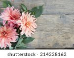 Pink Flowers On Wooden...