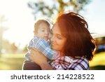teenage mother spending time...   Shutterstock . vector #214228522