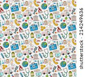 medical doodle pattern.sticker... | Shutterstock .eps vector #214249636