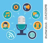 vector podcast concept in flat... | Shutterstock .eps vector #214253098