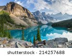 Moraine lake with the rocky mountains panorama in the banff canada - stock photo