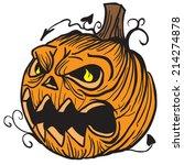 pumpkin head cartoon... | Shutterstock .eps vector #214274878