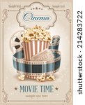 popcorn bowl  film strip and... | Shutterstock .eps vector #214283722