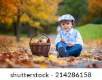 boy in a park with leaves and... | Shutterstock . vector #214286158