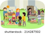 illustration featuring families ... | Shutterstock .eps vector #214287502