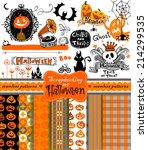 halloween vintage objects  ... | Shutterstock .eps vector #214299535