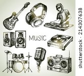 sketch music set. hand drawn... | Shutterstock .eps vector #214307638