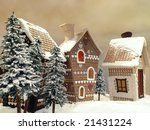 Little snow covered cottages made from gingerbread - stock photo