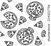 pizza black and white seamless... | Shutterstock .eps vector #214321756