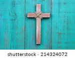 Distressed Wood Cross With Rope ...