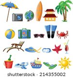 travel cartoon icons  | Shutterstock .eps vector #214355002