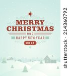 christmas retro typographic and ... | Shutterstock .eps vector #214360792