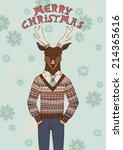 reindeer in knitted sweater.... | Shutterstock .eps vector #214365616