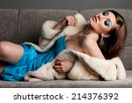 fashionable woman with art... | Shutterstock . vector #214376392