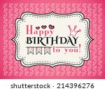 happy birthday card. typography ... | Shutterstock .eps vector #214396276