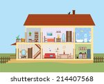 house in cut. detailed modern... | Shutterstock .eps vector #214407568