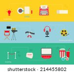 movie making icons set in flat... | Shutterstock .eps vector #214455802