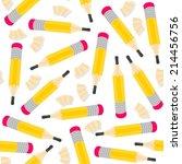 yellow pencils and wooden... | Shutterstock .eps vector #214456756