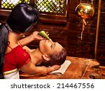 woman having nose ayurveda spa... | Shutterstock . vector #214467556