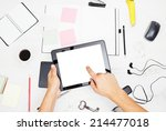 man working on tablet pc with... | Shutterstock . vector #214477018