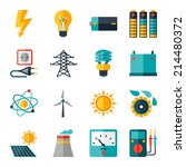 Set Of Industry Power Icons In...