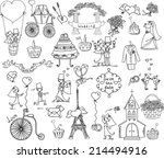 doodle wedding set  | Shutterstock .eps vector #214494916