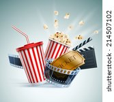 popcorn box  disposable cup for ... | Shutterstock .eps vector #214507102