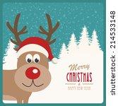 reindeer snowy background   Shutterstock .eps vector #214533148