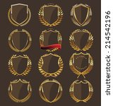 golden shield collection   Shutterstock .eps vector #214542196
