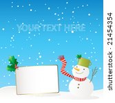 winter greeting card with happy ... | Shutterstock .eps vector #21454354