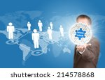 business man hold puzzle sphere ... | Shutterstock . vector #214578868