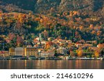 Stock photo small town on the shore of lake como in autumn in italy 214610296