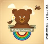 Baby shower illustration with comic bear. Vector illustration. - stock vector
