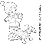 winter activity   coloring page ... | Shutterstock . vector #214646032