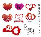 abstract love icons on a white... | Shutterstock .eps vector #214664452