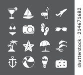 summer beach icon set  vector... | Shutterstock .eps vector #214671682