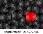 red umbrella in middle of black ... | Shutterstock . vector #214672756
