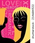 erotic silhouette of a couple...   Shutterstock .eps vector #214684522
