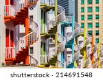 colorful spiral stairs of... | Shutterstock . vector #214691548