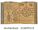 magic book with mystic drawings ...   Shutterstock . vector #214695115
