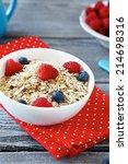 corn flakes  useful food closeup | Shutterstock . vector #214698316
