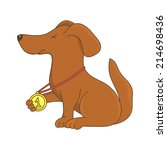 dog with with his gold medal | Shutterstock .eps vector #214698436