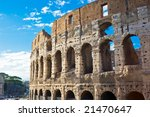 Ruins of great stadium Colosseo, Rome, Italy - stock photo