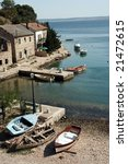 Small fisher village on the sea shore - stock photo